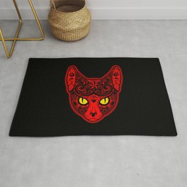 Red Day of the Dead Sugar Skull Cat Rug