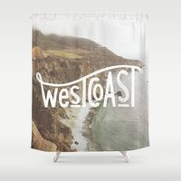 west coast Shower Curtains featuring West Coast by cabin supply co