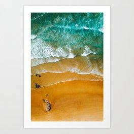 Ocean Waves Crushing On Beach, Drone Photography, Aerial Photo, Ocean Wall Art Print Decor Art Print