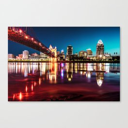Morning Skyline Reflections of Cincinnati Ohio Canvas Print