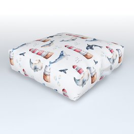 Sea Voyage Whales and Lighthouses Pattern Outdoor Floor Cushion