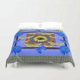 BUTTERFLY FANTASY BLUE-GREEN FLORAL Duvet Cover