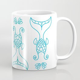 Mermaids Tails Pattern/ Blue and Teal Vector Silhouettes Coffee Mug