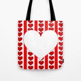 PURE HEART OF WHITE-RED HEARTS VALENTINES  ART Tote Bag