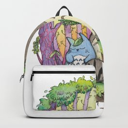 My neighbour Grey Fluffy monster water color Backpack