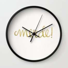 Pardon My French – Gold Ink Wall Clock