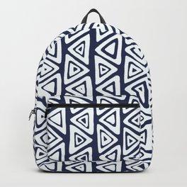 Navy Blue & White Tribal Pattern Backpack