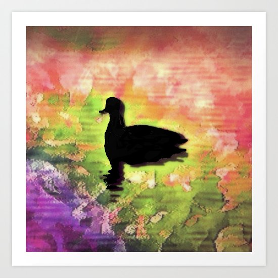 Swimming in colors Art Print