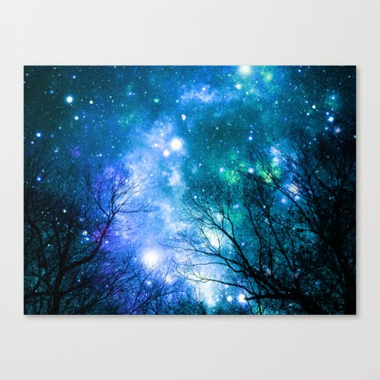 Black Trees Blue Turquoise Teal Space Canvas Print