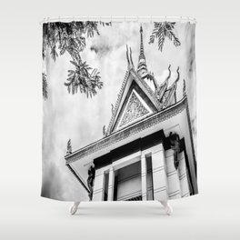 Killing Fields Stupa in Black & White, Cambodia Shower Curtain