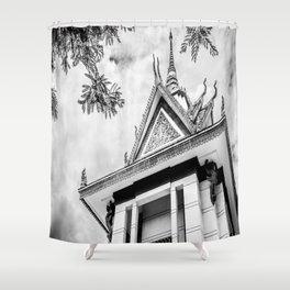 Killing Fields Stupa in Black & White, Cambodia Shower Curtain