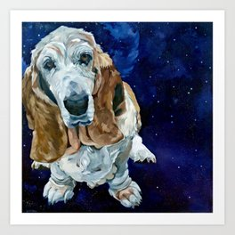 Basset Hound Nebula Stickers Dog Portrait Art Print