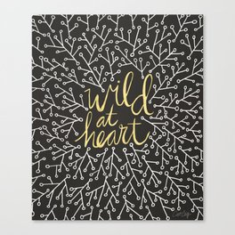 Wild at Heart – White and Gold on Black Canvas Print