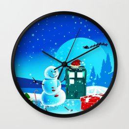 Tardis With Snow Ball Gift Christmas Wall Clock