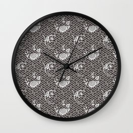 Black Chrysanthemum Auspicious Sayagata Japanese Kimono Pattern Wall Clock