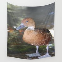 duck Wall Tapestries featuring duck by Twilight Wolf