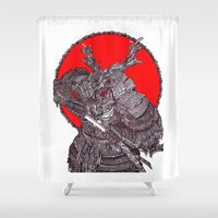 battlefield Shower Curtains featuring Shogun by Mongolizer