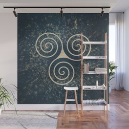 Triskelion Golden Three Spiral Celtic Symbol Wall Mural