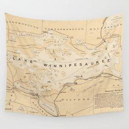 Vintage Map of Lake Winnipesaukee (1896) Wall Tapestry