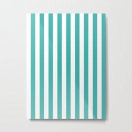 Narrow Vertical Stripes - White and Verdigris Metal Print