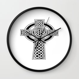 St Patrick's Day Celtic Cross Black and White Wall Clock