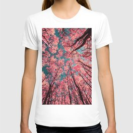 Glance Upward Vibrant Living Coral Trees Teal Sky T-shirt