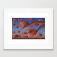 dragons Framed Art Prints featuring Dragons by Averin Art