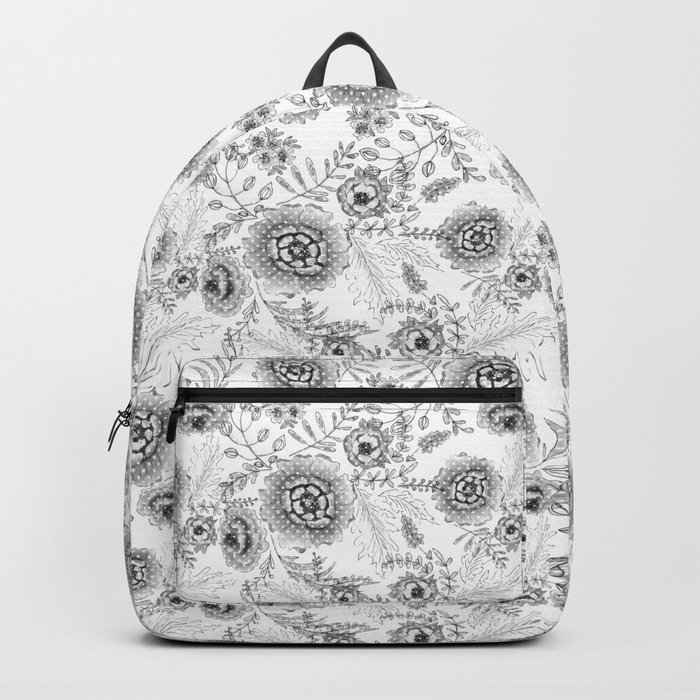 Black and white watercolor floral pattern with polka dots . Backpack