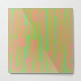Geometric Green Yellow Pink Painting Metal Print
