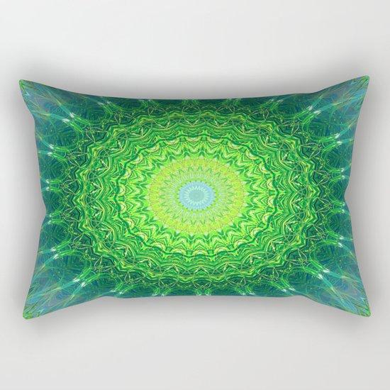 Glowing Green Ribbon Kaleidoscope Rectangular Pillow
