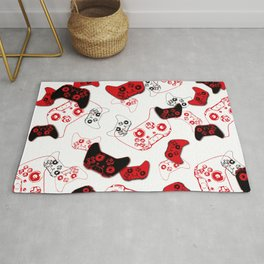 Video Game White and Red Rug
