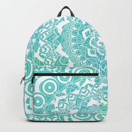 Sea Green Ombre, Indian Mandala Pattern Backpack