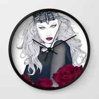 evil queen Wall Clocks featuring Evil Queen by Crecre