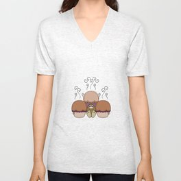 Cute Monster With Orange And Pink Frosted Cupcakes Unisex V-Neck