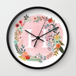 Flower Wreath with Personalized Monogram Initial Letter H on Pink Watercolor Paper Texture Artwork Wall Clock