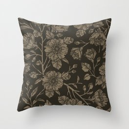 Midnight Blooms Throw Pillow