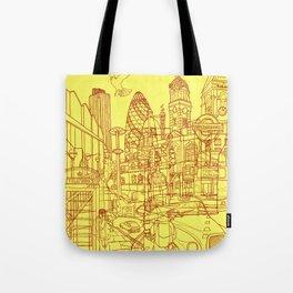 London! Yellow/Red Tote Bag