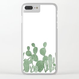 Green cactus garden on white Clear iPhone Case