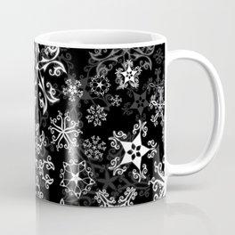Symbols in Snowflakes on Black Coffee Mug