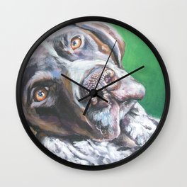 GSP German Shorthaired Pointer dog portrait art from an original painting by L.A.Shepard Wall Clock