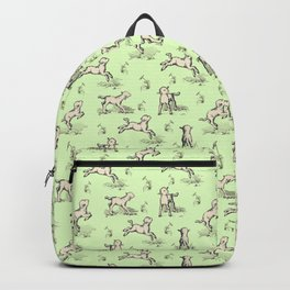 Little Sheep jumping in the meadow Backpack