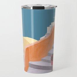 Santorini Pebble Stairs and Houses Travel Mug