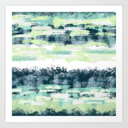 Green and White Square Horizontal Abstract Painting Art Print