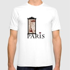 I love Paris White Mens Fitted Tee SMALL