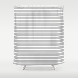Light Grey and White Horizontal Stripes Pattern Shower Curtain
