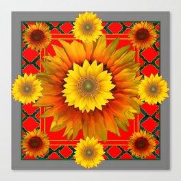 RED-GREY DECO YELLOW SUNFLOWERS MODERN ART Canvas Print