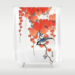 "Ohara Koson,""Bird & Red Ivy"" Shower Curtain"