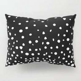 White Polka Dot Rain on Black Pillow Sham