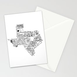 Texas - Hand Lettered Map Stationery Cards