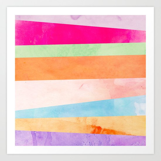 Modern Abstract Rainbow Watercolor Stripes Pattern Art Print
